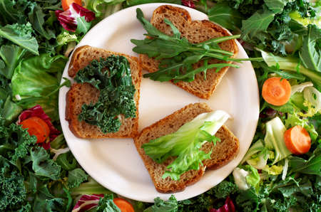Diet concept. Bread with lettuce leaves. Zdjęcie Seryjne