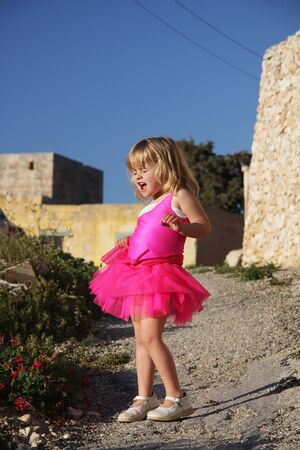 Little girl dressed in pink tutu Stock Photo