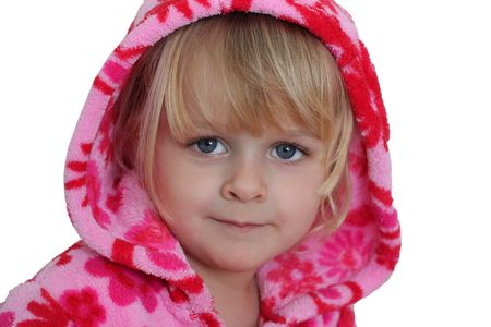 A horizontal of a blond 3 year old girl with blue eyes, dressed with a bright pink hoodie. Isolated on white Stock Photo - 7686510