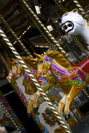 Closeup of an old victorian carousel at the London Zoo photo