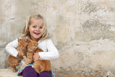 ginger cat: A happy girl holding a pair of cats. Space for free text