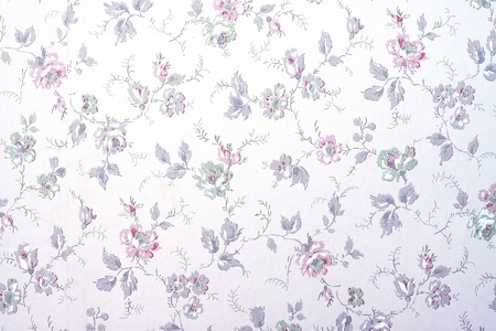 A vintage old wallpaper from the fifties, with flowers and buds photo