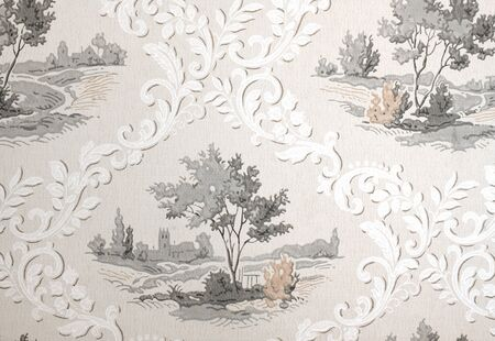 Old retro wallpaper from the fifties or sixties, with a tree design photo