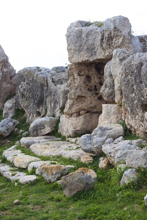 apses: Detail of the Megalithic temple of Hagrat in Mgarr,  Maltese Islands
