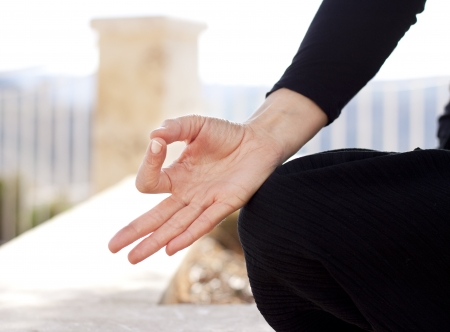 Close up of a hand gyan mudra position Stock Photo