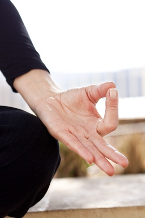 gyan: Yoga hand in gyan mudra position. Vertical, Space for text