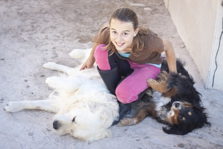 tickling: A teenage girl tickling two dogs