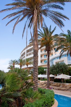 condominium complex: Spa and pool area with palm trees luxury apartment complex