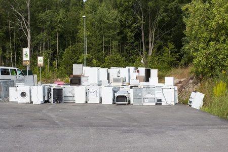 A waste disposal facility with fridges