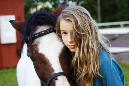An icelandic horse with girl Stock Photo