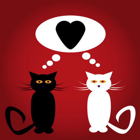 black and red cat: Black and white cat lovers with a heart in a cloud of thoughts on gradient red background Illustration