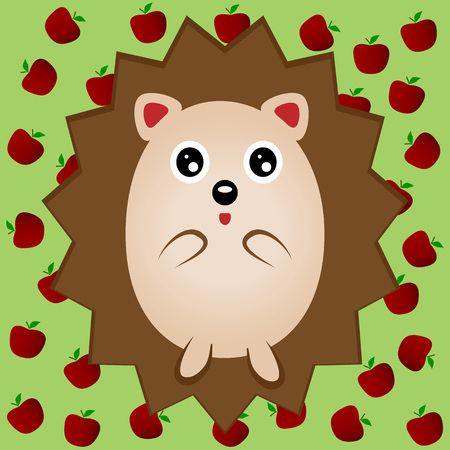 porcupine: Funny brown hedgehog with big eyes. Urchin, porcupine. Green background with red apples.
