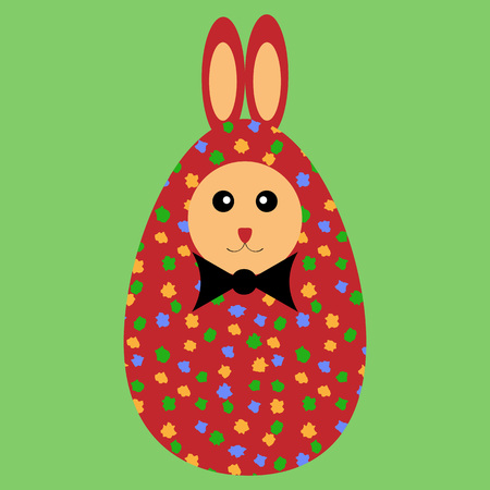 color separation: Red painted Easter bunny egg with bowtie on a green background. Illustration