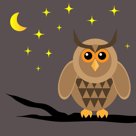 horned: Horned owl on brown dried branch. Night, moon, star. Dark background. Illustration