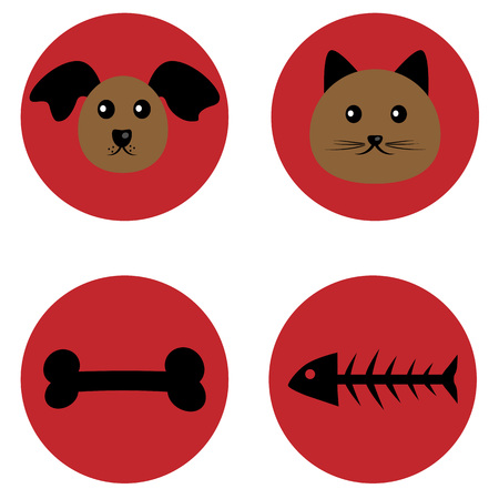 caricature cat: Muzzle of a dog and a cat and a treat. Bone and fish skeleton. Black and brown. The individual elements on a red background. Caricature.