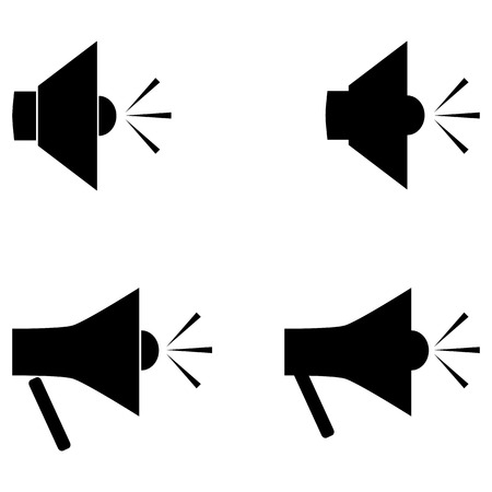 blower: Set of simple speakers. Speaker, mouthpiece, horn, speaker, mouth, bullhorn, loud-hailer, speaking, trumpet, loudspeaker, megaphone, blower, reproducer. Four elements on a white background.