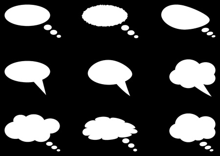 Set of different thought cloud nine white objects on a black background