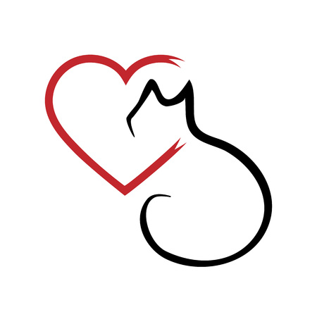heart outline: Silhouette of a cat and a heart. Outline brush. Abstraction. Isolated. Black and red.