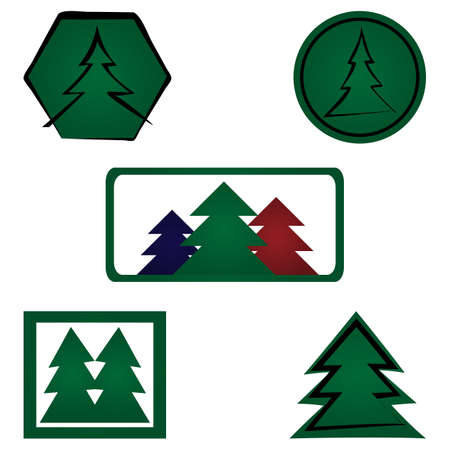 five elements: Set spruce logo. Five elements isolated. Fir, icon. White background.