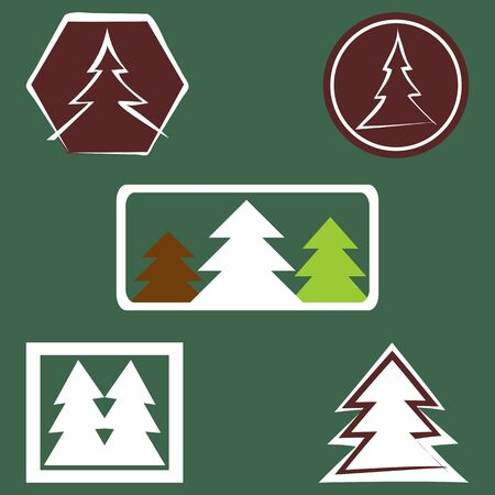 five elements: Set spruce logo. Five elements isolated. Fir, icon. Dark background.