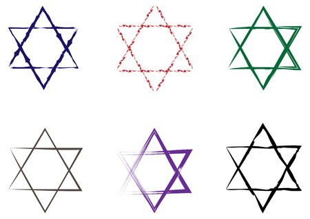 holocaust: Set of Stars of David painted with a brush. Six elements isolated on white background. Illustration