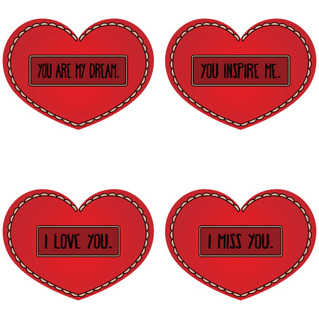 confession: Set of red heart with different types of romantic confession in the frame. Four isolated object.