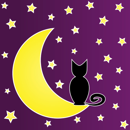 yellow star: Black cat sitting on the moon surrounded by stars. Caricature. Dark background.