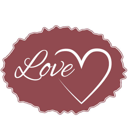 vague: Maroon vague frame for text with the word love and the heart icon. Abstract, isolated.