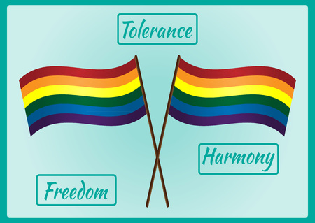 Two LGBT flag on a pole and three frames for text with the words Tolerance, Freedom, Harmony. Blue background, abstraction.