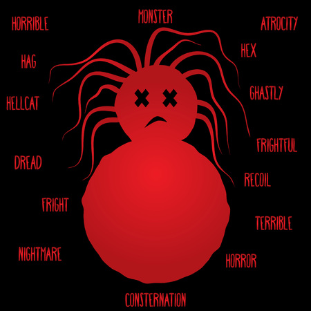 Red silhouette of a dead girl tumblers with disheveled hair and the words on the theme of horror on a black background. Abstract illustration.