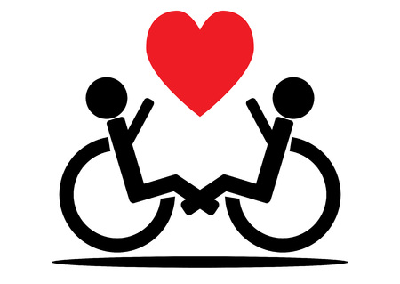 wheelchair users: Couple wheelchair users, a black outline and a red heart. Isolated. Illustration