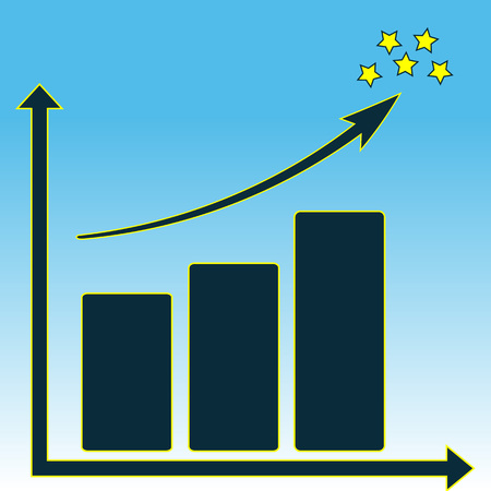 schematic: schematic schedule growth and stars on a blue background. Illustration