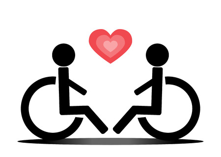 wheelchair users: Love wheelchair users and heart. Schematic image, sketch. Two people. Red and black. Abstract. Illustration
