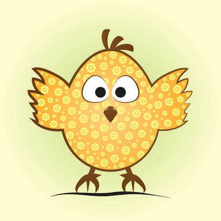 fledgeling: Comic little chicken in an egg shape. Funny chick with a flower pattern, tufted, big eyes and feet on green and yellow background. Illustration