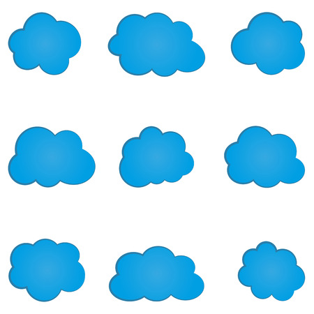 on cloud nine: Set of simple abstract blue cloud. Nine isolated elements.