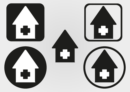 infirmary: Set house icon with a cross. Circle, square with rounded corners.  Flat schematic abstract image. Illustration