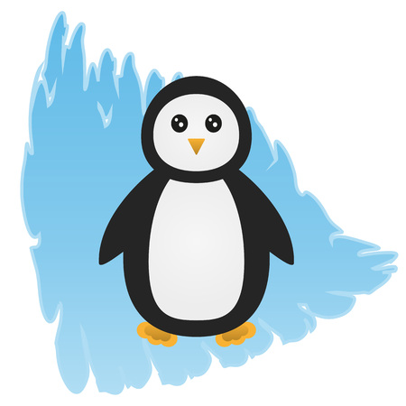 floe: Cartoon penguin on an abstract background, depicting an ice floe. Isolated. Illustration