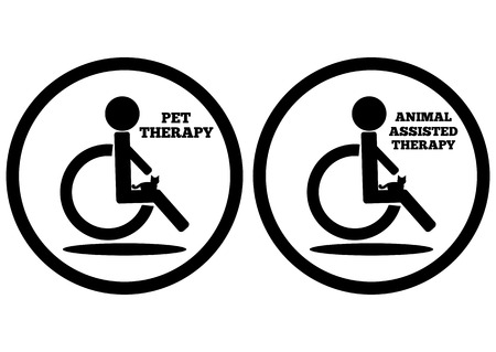 lap: Schematic representation of a disabled person in a wheelchair with a cat on her lap. Icon with inscriptions Pet Therapy and Animal Assisted Therapy. Isolated element. Abstract.