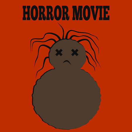 ghastly: Template for a poster. Vile monster brown dead woman with disheveled hair and the inscription Horror Movie. Orange background.