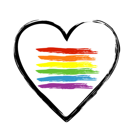 heart outline: Image Pattern brush heart outline with brush strokes that mimic the LGBT flag. Simple isolated object. Sample brushes panel.