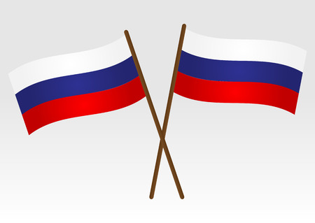 shaft: Flag of Russia. Two crossed Russian flag with the shaft. Isolated. Illustration