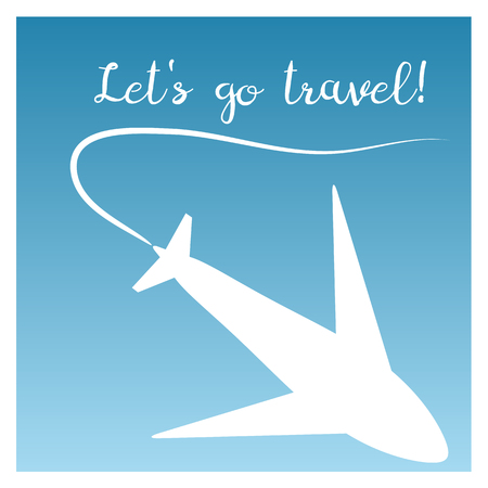 trajectory: The poster silhouette of an airplane and the trajectory in a white border. Inscription Lets go travel! Blue background. Abstract illustration.
