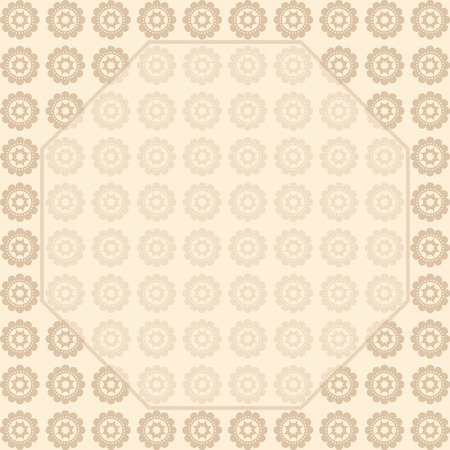 transparency color: Background printing repetitive stylized flowers. Frame with space for text. Brown, beige color. Transparency.