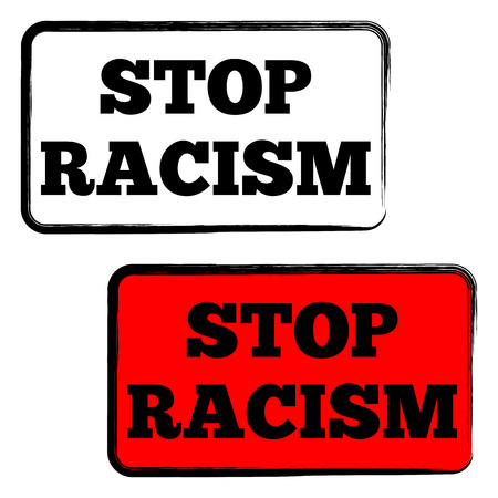 discriminate: Simple rectangular frame with rounded corners, painted with a brush. The inscription Stop racism. Transparent and red background options. Isolated.