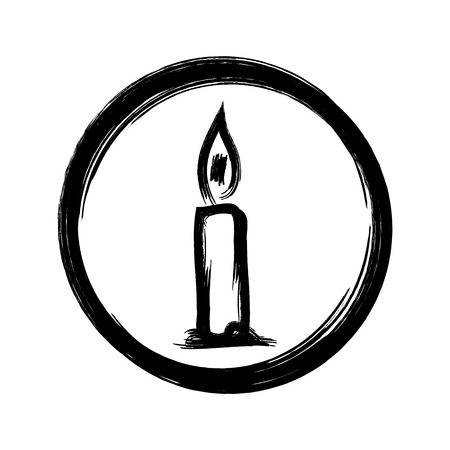 single object: Silhouette of burning candles in a simple round frame. Icon, sign. Drawing a rough brush. A single object. Isolated abstract image. Illustration
