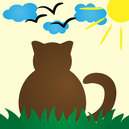 peacefully: Cat Silhouette rear view. Cat peacefully resting in the grass. Clouds, sun, a schematic image of a bird. Colorful poster, card for kids. Simple abstract illustration.