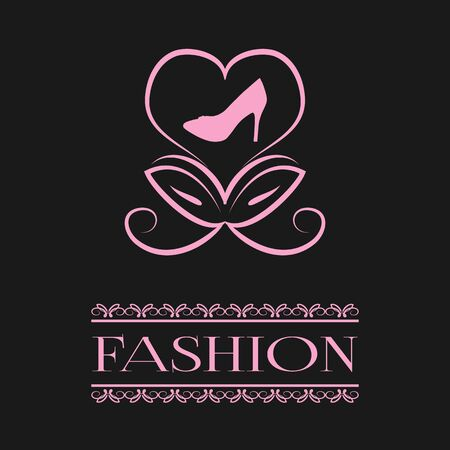 stilettos: Postcard, poster. Abstract flower bud in the form of a heart and the silhouette of stilettos. The inscription, word Fashion in openwork frame. Pink illustration on a black background. Illustration