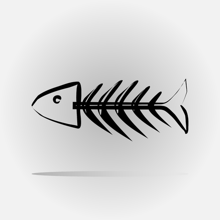 barebone: Stylized fish skeleton painted with a brush. Abstract image. Isolated. Illustration