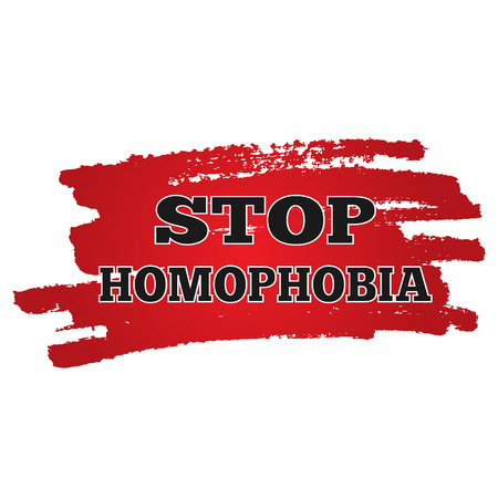 social problems: Background red rough smear brush. Black inscription Stop Homophobia. Isolated abstract image. Social problems. Homosexuality.