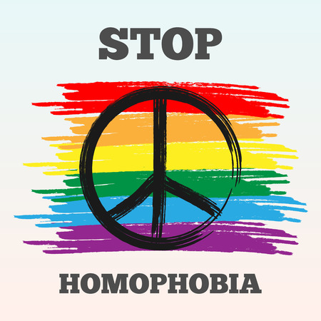 homophobia: Social problem - homophobia. LGBT flag, peace sign, inscription Stop Homophobia. Illustration of a black rough brush. Abstract vector. Transparency.